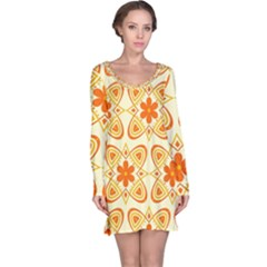 Background Floral Forms Flower Long Sleeve Nightdress