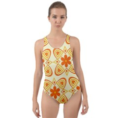 Background Floral Forms Flower Cut Out Back One Piece Swimsuit