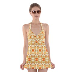 Background Floral Forms Flower Halter Dress Swimsuit