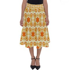 Background Floral Forms Flower Perfect Length Midi Skirt