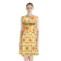 Background Floral Forms Flower Sleeveless Waist Tie Chiffon Dress