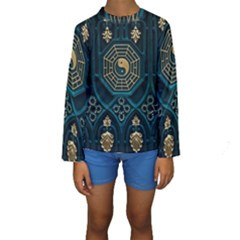 Ying Yang Abstract Asia Asian Background Kids  Long Sleeve Swimwear