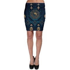 Ying Yang Abstract Asia Asian Background Bodycon Skirt