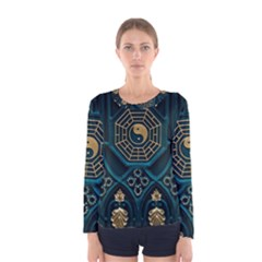 Ying Yang Abstract Asia Asian Background Women s Long Sleeve Tee