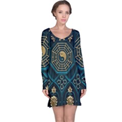 Ying Yang Abstract Asia Asian Background Long Sleeve Nightdress