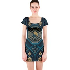 Ying Yang Abstract Asia Asian Background Short Sleeve Bodycon Dress