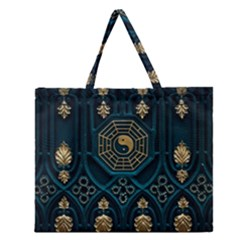 Ying Yang Abstract Asia Asian Background Zipper Large Tote Bag