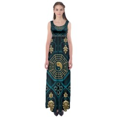 Ying Yang Abstract Asia Asian Background Empire Waist Maxi Dress