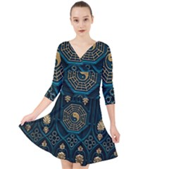 Ying Yang Abstract Asia Asian Background Quarter Sleeve Front Wrap Dress