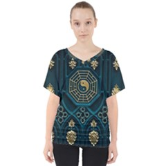 Ying Yang Abstract Asia Asian Background V Neck Dolman Drape Top
