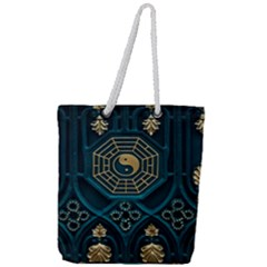 Ying Yang Abstract Asia Asian Background Full Print Rope Handle Tote (large)