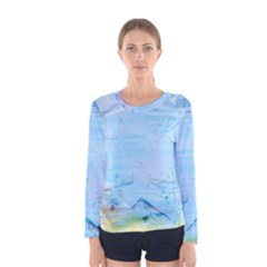 Background Art Abstract Watercolor Women s Long Sleeve Tee