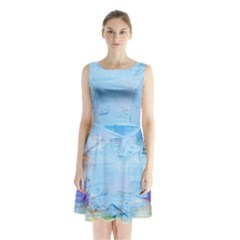 Background Art Abstract Watercolor Sleeveless Waist Tie Chiffon Dress