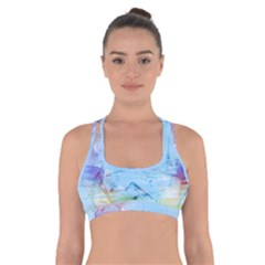 Background Art Abstract Watercolor Cross Back Sports Bra