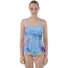 Background Art Abstract Watercolor Twist Front Tankini Set