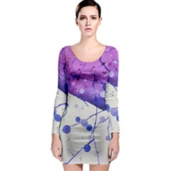 Art Painting Abstract Spots Long Sleeve Bodycon Dress