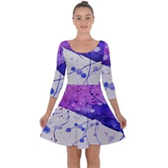 Art Painting Abstract Spots Quarter Sleeve Skater Dress