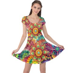 Colorful Abstract Background Colorful Cap Sleeve Dress