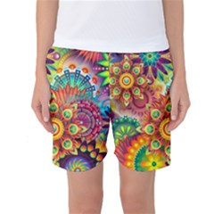 Colorful Abstract Background Colorful Women s Basketball Shorts