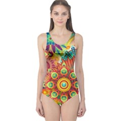 Colorful Abstract Background Colorful One Piece Swimsuit