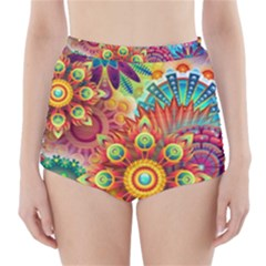 Colorful Abstract Background Colorful High Waisted Bikini Bottoms by Nexatart