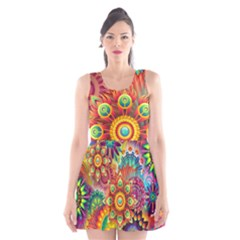 Colorful Abstract Background Colorful Scoop Neck Skater Dress