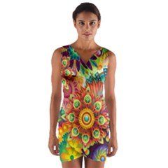 Colorful Abstract Background Colorful Wrap Front Bodycon Dress