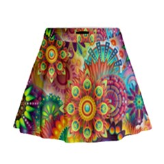 Colorful Abstract Background Colorful Mini Flare Skirt