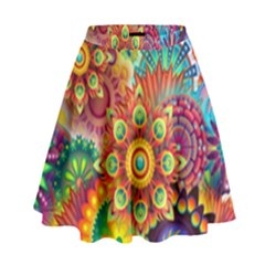 Colorful Abstract Background Colorful High Waist Skirt