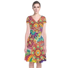 Colorful Abstract Background Colorful Short Sleeve Front Wrap Dress