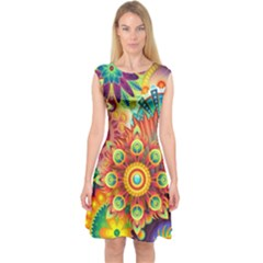 Colorful Abstract Background Colorful Capsleeve Midi Dress