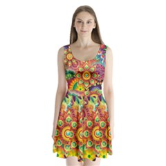 Colorful Abstract Background Colorful Split Back Mini Dress