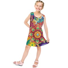 Colorful Abstract Background Colorful Kids  Tunic Dress