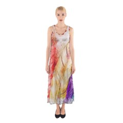 Feathers Bird Animal Art Abstract Sleeveless Maxi Dress