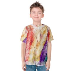 Feathers Bird Animal Art Abstract Kids  Cotton Tee