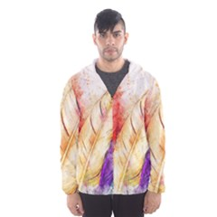 Feathers Bird Animal Art Abstract Hooded Wind Breaker (men)