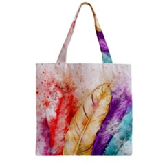 Feathers Bird Animal Art Abstract Zipper Grocery Tote Bag