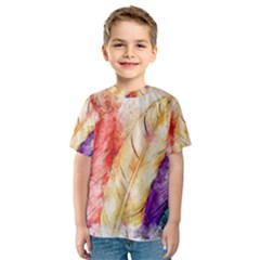 Feathers Bird Animal Art Abstract Kids  Sport Mesh Tee