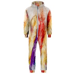 Feathers Bird Animal Art Abstract Hooded Jumpsuit (men)