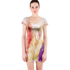 Feathers Bird Animal Art Abstract Short Sleeve Bodycon Dress