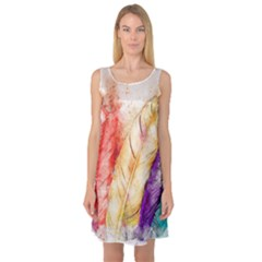 Feathers Bird Animal Art Abstract Sleeveless Satin Nightdress