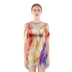Feathers Bird Animal Art Abstract Shoulder Cutout One Piece