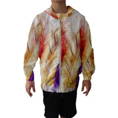 Feathers Bird Animal Art Abstract Hooded Wind Breaker (kids)