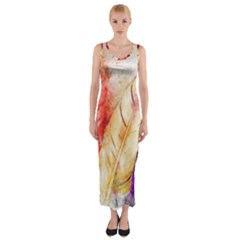 Feathers Bird Animal Art Abstract Fitted Maxi Dress