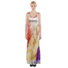 Feathers Bird Animal Art Abstract Maxi Thigh Split Dress
