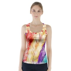 Feathers Bird Animal Art Abstract Racer Back Sports Top