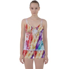 Feathers Bird Animal Art Abstract Tie Front Two Piece Tankini