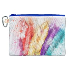 Feathers Bird Animal Art Abstract Canvas Cosmetic Bag (xl)
