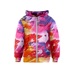 Abstract Art Background Paint Kids  Zipper Hoodie