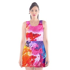 Abstract Art Background Paint Scoop Neck Skater Dress